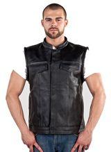 Mens Leather Vest MV320