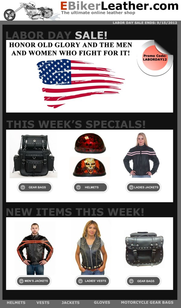 Labor Day Sale at eBikerLeather.com