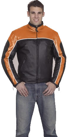 eBikerLeather.com Men's Motorcycle Jacket MJ780-Orange