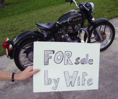 Motorcycle on sale by wife